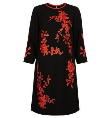 Hobbs Sunny Floral Print Sleeve Dress Red Black