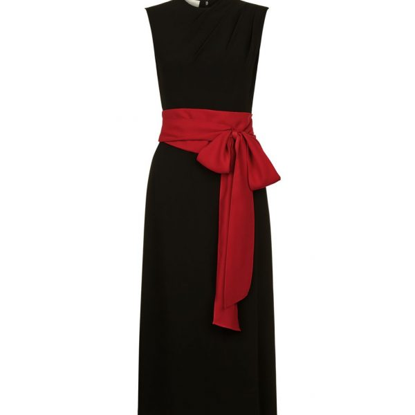 Hobbs Thao Bow Shift Dress Black Red