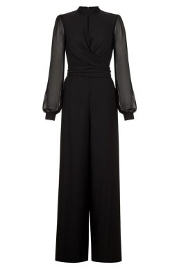 Hobbs Vera Mesh Sleeve Jumpsuit Black
