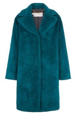 Hobbs Braidy Faux Fur Coat Celadon Green