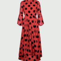 Hobbs Lilia Spot Print Sleeve Dress Red Black
