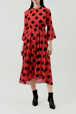 Hobbs Lilia Spot Print Sleeve Dress Red Black
