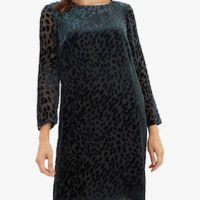 Jaeger Velvet Animal Dress Teal