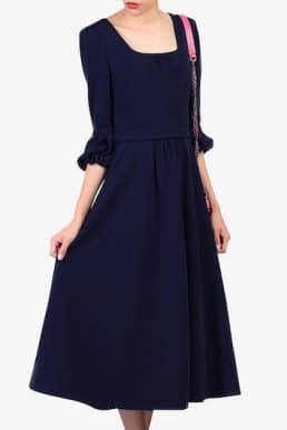 Jolie Moi Bell Sleeve Dress Navy