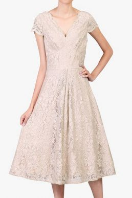 Jolie Moi Cap Sleeve Lace Prom Dress Oyester Cream