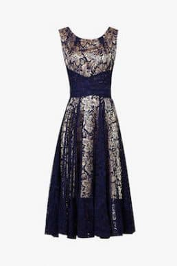 Jolie Moi Contrast Lace Dress Navy Gold