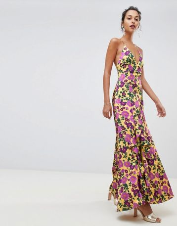 Keepsake Infinity strappy maxi gown in floral print Yellow Pink