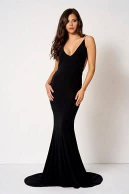 Knot Camisole Fishtail Maxi Dress Black by Club L London