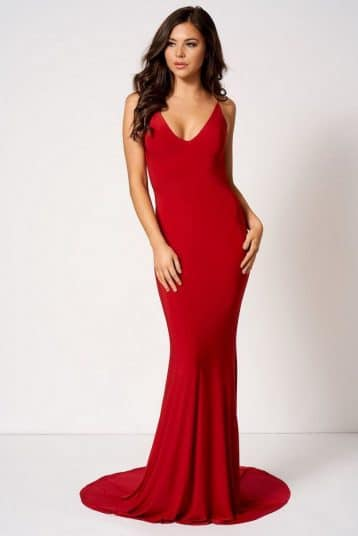 Knot Camisole Fishtail Maxi Dress Red by Club L London