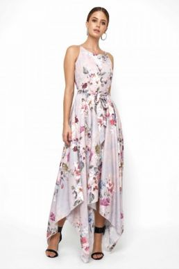 Lace & Beads Cosmos Grey Floral Maxi Dress Blush Pink Multi