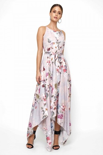 3ca3473be3e21 Lace & Beads Cosmos Grey Floral Maxi Dress, Blush Pink/Multi ...