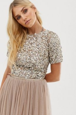 Lace & Beads cropped top with embellishment open back co-ord, Silver