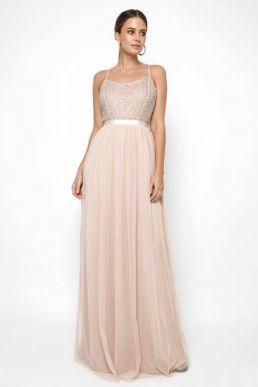 Lace & Beads Garnet Embelished Maxi Dress Pink Blush