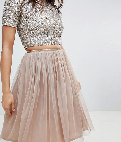 lovely luster double coupon online store Lace & Beads tulle midi skirt in taupe/pink