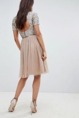 Lace & Beads tulle midi skirt in taupe pink