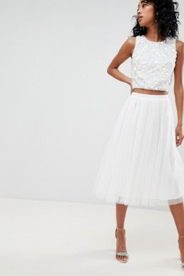 Lace & Beads tulle midi skirt white