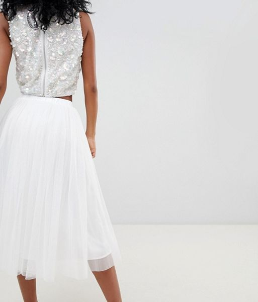 thoughts on cheap prices affordable price Lace & Beads tulle midi skirt, white