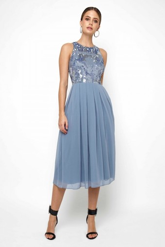 Lace & Beads Viva Embellished Sky Blue Midi Dress