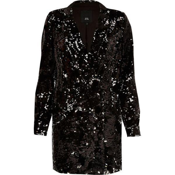 39eacd6c River Island Black velvet sequin tux dress   myonewedding.co.uk