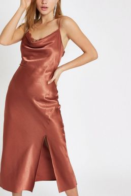 River Island Rust satin lace cowl neck maxi dress