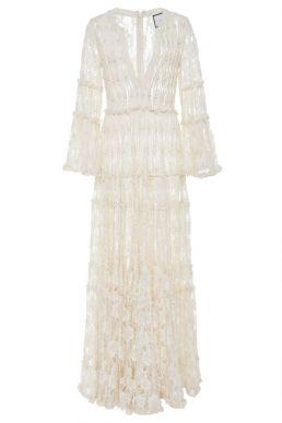 Alexis Alvin Beaded Lace Maxi Dress Ivory