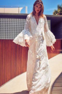 Alexis Karita Ruffled Lace Maxi Dress White