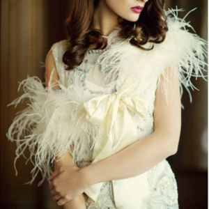 Ivory Ostrich Feather Stole Ivory