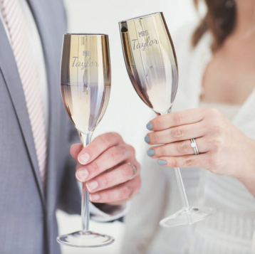 Personalised 'Mr And Mrs' Metallic Champagne Flute Set