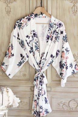 White Floral Print Satin Kimono