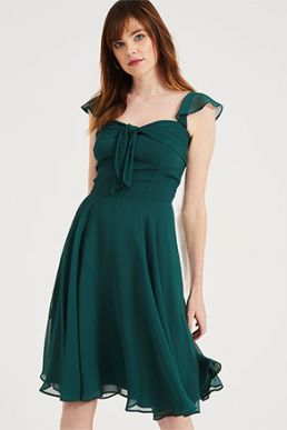Phase Eight Kendall Georgette Short Bridesmaid Dress Green