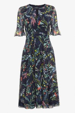 Phase Eight Kristen Floral Print Dress Navy Multi