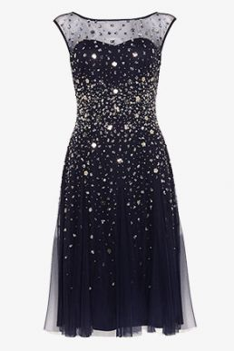 Phase Eight Lena Sequinned Dress Navy Silver