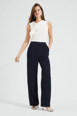 Phase Eight Maeve Frill Detail Jumpsuit Navy Ivory
