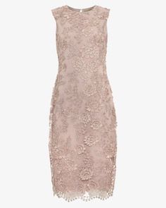 Phase Eight Teresa 3D Metallic Lace Dress Nude Beige