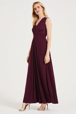 Phase Eight Tomasi Beaded Shoulder Maxi Bridesmaid Dress Merlot Red Berry