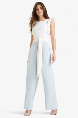 Phase Eight Victoriana Floral Jumpsuit Pale Blue White