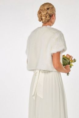 Showcase Bridal White Faux-Fur Bolero Ivory