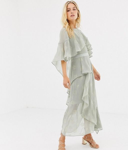 76461e2d8644 Stevie May Golden Frill Midi Dress, Sage Green | myonewedding.co.uk