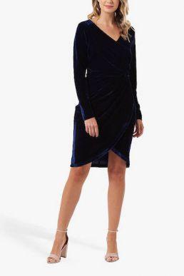 Sugarhill Brighton Kelli Velvet Wrap Dress Navy