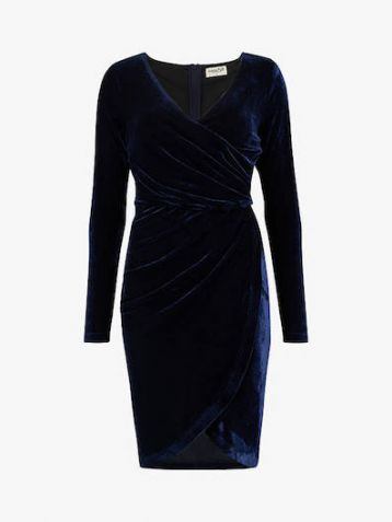 Sugarhill Brighton Kelli Velvet Wrap Dress Navy