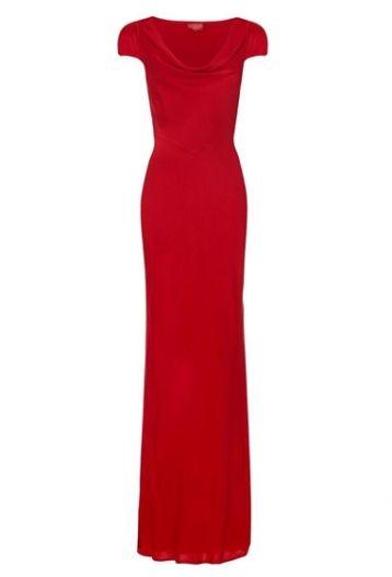Ghost Sylvia Satin Cowl Bridesmaid Dress Red