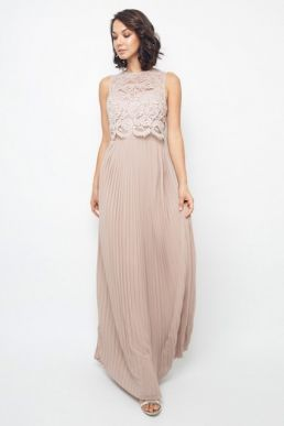 TFNC Camden Pleat Lace Maxi Bridesmaid Dress Pink Blush