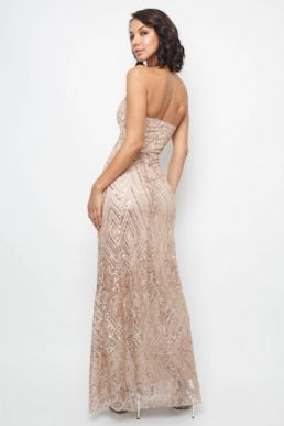 TFNC Gaynor Rose Gold Sequin Maxi Dress Champagne