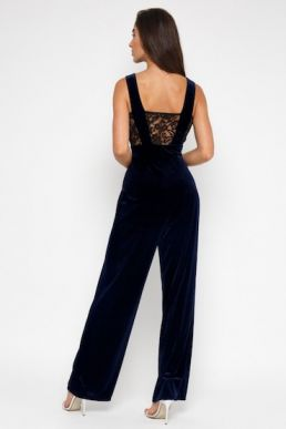 TFNC Johannie Velvet Black Jumpsuit