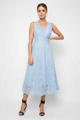 TFNC Majorelle Sky Blue Lace Midi Dress