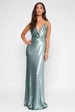 12eac91abfed ... TFNC Turia Green Sequin Maxi Dress Teal