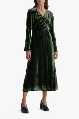 Toast Silk Velvet Wrap Midi Dress Green