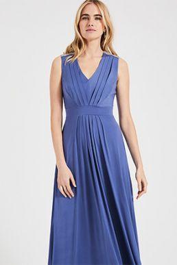 Phase Eight Tomasi Beaded Shoulder Maxi Bridesmaid Dress Cornflower blue