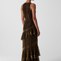 Whistles Edith Reed Print Maxi Dress Gold
