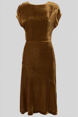 Whistles Mina Silk Mix Velvet Dress Gold